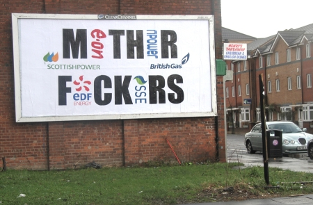 Subvertised billboards in Manchester in protest at the Big Six domination of energy supply