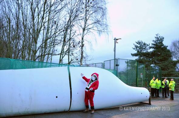 Father Xmas Wind Turbine at Barton Moss